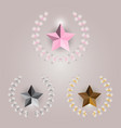 star and laurel wreath on bright background vector image vector image