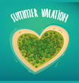 tropical island in the shape of a heart vector image vector image