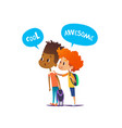 two multiracial boys with backpacks stand amazed vector image vector image