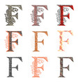 various combination fishnet letter f vector image vector image