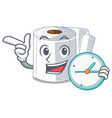 with clock character toilet paper rolled on wall vector image vector image