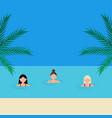 young women girlfriends swim in sea vector image