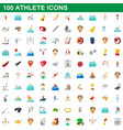 100 athlete icons set cartoon style vector image vector image