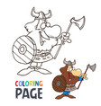 barbarian cartoon coloring page vector image vector image
