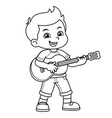 boy practicing music with his guitar bw vector image vector image