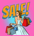 bride shopping woman with bags vector image vector image