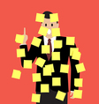 Businessman with a lot of sticky notes vector image