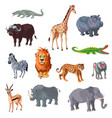 cartoon african animals set vector image vector image