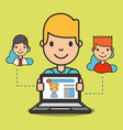 cartoon boy with laptop website girl on screen vector image vector image
