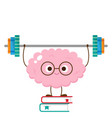 cartoon brain lifting barbell make books vector image