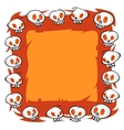 Cartoon Skulls Square Frame on White Background vector image vector image