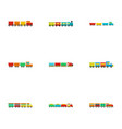 child engine icons set flat style vector image vector image
