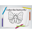 children butterfly coloring worksheet vector image vector image
