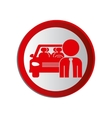 circular shape with driver and vehicle vector image
