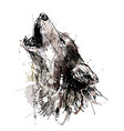Colored hand drawing of a howling wolf vector image vector image