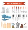 cookware set icons flat style kitchen utensils vector image vector image
