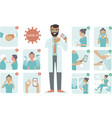 covid19-19 virus protection tips doctor character vector image vector image