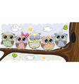 cute owls is sitting on a brunch vector image vector image