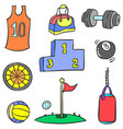 doodle sport equipment colorful style vector image vector image