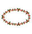 ellipse frame with holly berry branch for vector image vector image