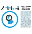 Euro Award Seal Icon with 1000 Medical Business vector image vector image
