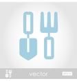 Garden shovel pitchfork garden tool icon vector image