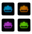 glowing neon pet carry case icon isolated on vector image vector image
