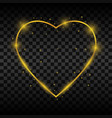 golden glowing heart frame with sparkles and vector image