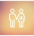 Husband with pregnant wife thin line icon vector image vector image