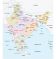 india administrative and political zones map vector image vector image