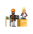 indian businessman working in office vector image vector image