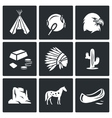Indians Wild West icons set vector image vector image
