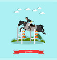 jumps over barrier in flat vector image vector image