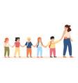 kids following teacher kindergarten teacher takes vector image vector image