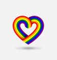 lgbt pride heart in color rainbow flag vector image