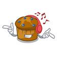 listening music mufin blueberry mascot cartoon vector image