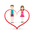 man and woman inside heart icon boy and girl in vector image vector image