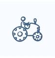 Man driving tractor sketch icon vector image vector image