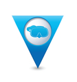 mask symbol on map pointer blue vector image vector image