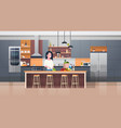 modern kithcen interior and young woman cooking vector image