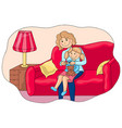 mom cuts her nails to her little daughter vector image vector image