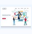 online auction website landing page design vector image