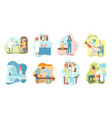 patient at doctor appointment cartoon scene set vector image