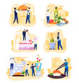 restaurant people cooking and catering cartoon vector image