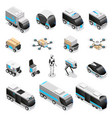 robot delivery isometric icons vector image vector image