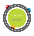 Round road and cartoon cars Flat design Green vector image vector image