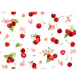 seamless cherry pattern with summer berries vector image