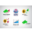 set financial crypto currency logos vector image