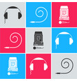 set headphones birthday party horn and karaoke vector image vector image