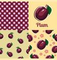 set seamless texture with plums vector image vector image